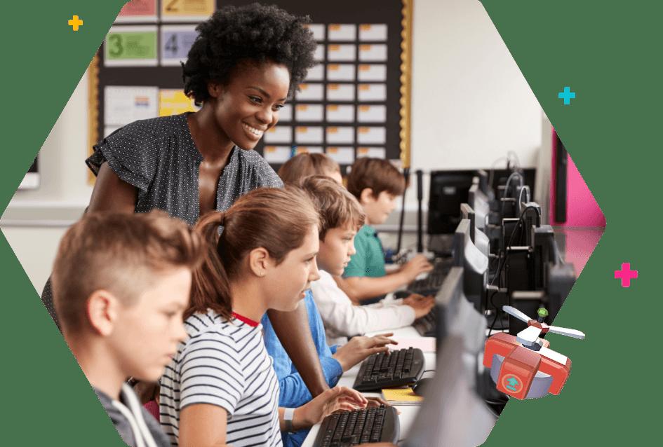 Elemenary schools kids lin a computer science classroom