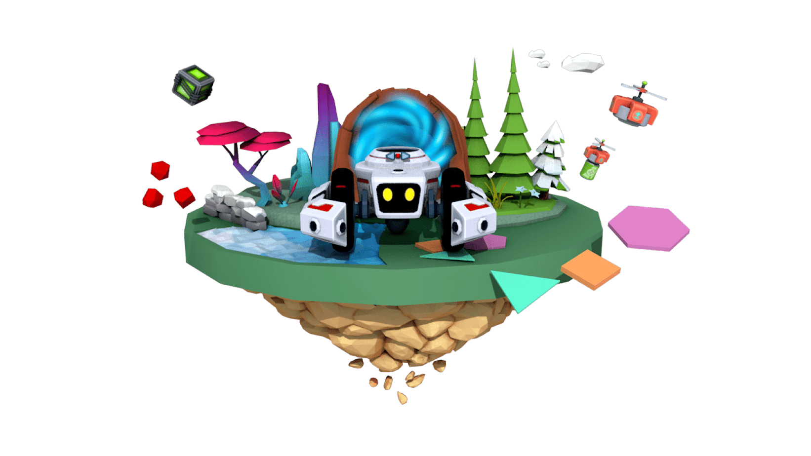 Frontal view of a virtual robot from the CoderZ gamified learning platform for coding and computer science
